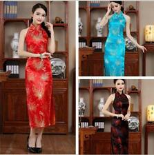 Chinese Silk Women's Sleeveless Halter Evening Dress Cheongsam SZ S M L XL XXL