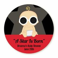 A Star Is Born Boy - Round Personalized Baby Shower Sticker Labels - 6 sizes