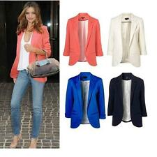 New Chic Womens Roll Sleeve No Button Jacket OL Boyfriend Tops Tunic Blazer YT