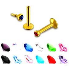 2pc 16G Surgical Steel Gold Crystal Ball Lip Monroe Labret Tragus Bar Ring Stud