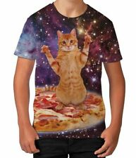 Pizza Cat in Space Novelty Cat Lover Animal Boys Kids Child T Shirt Ages 3-12