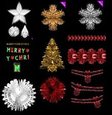 METALLIC FOIL XMAS DECORATIONS CHRISTMAS PARTY 3D HANGING CEILING TRADITIONAL