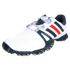 ADIDAS POWERBAND TOUR BOA MENS SPIKED GOLF SHOES - WHITE / BLUE / RED