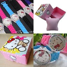 Hello Kitty Wrist Watch Silicone Band and Rhinestones with Gift Box Xmas gift