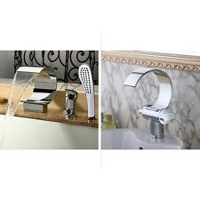 Chrome Waterfall Basin Sink Faucet / Bathtub Shower Mixer Tap Set Deck Mounted
