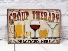 Group Therapy Tin Signs Beer Bar Sign Vintage Creative Wall Hanging Decorations