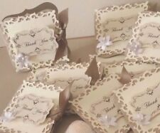 Hand crafted vintage Ivory wedding 'Thank you' gift note cards.Pks of 20,50,100.
