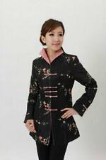 Black Chinese Women's Silk embroidery jacket /coat Cheongsam black Sz 8-18