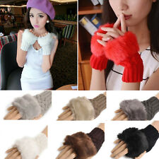 Fashion Cute Ladies Womens Faux Fur Gloves Knitted Autumn Winter Warm Mittens