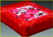 NEW!! 2 ply 2 Sided QUEEN MINK RASCHEL FLORAL BLANKET- RED FLOWERS
