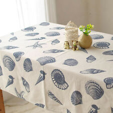High Quality Cotton Linen Shell Pattern Table Cover Tablecloth 7 Sizes