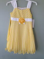 NWT Bonnie Jean yellow Dots Chiffon Dress Special Occasion Easter Wedding 8