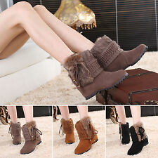 Women's Winter Warm Fur Lined Shoes Faux Suede Wedge Booties Knitted Ankle Boots
