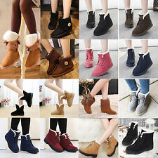 New Women Winter Warm Ankle Boots Faux Suede Fur Lined Snow Booties Martin Shoes