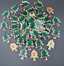 Wooden Christmas tree Buttons sewing decoration Scrapbooking crafts 31mm