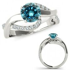 1.25 Carat Blue Diamond Solitaire Infinity ByPass Beautiful Ring 14K White Gold