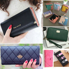 Lady Women Clutch Purse Leather Wallet Crown Card Holder Handbag Cat Print Bags