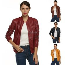Women Synthetic Leather Zipper Biker outerwear Jacket Coat Faux Leather OK