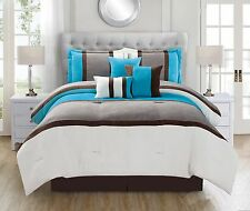 luxurious 7 Piece Turquoise Diaa Micro Suede Soft Bed in a Bag Comforter Set