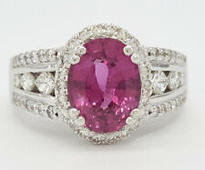 3.77 ct 14k White Gold Oval Cut Pink Sapphire & Diamond Halo Engagement Ring GIA
