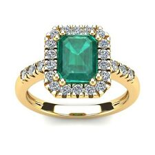 14K YELLOW GOLD 2 CARAT EMERALD CUT GENUINE EMERALD AND HALO DIAMOND RING