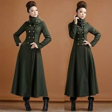 Women Super Long Elegant Military Wool Coat Overcoat Double-Breasted Jacket New