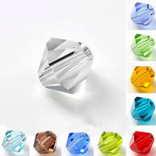 20-100Pcs 4/6/8mm Czech Crystal Glass Loose Spacer Bicone Beads Gem Finding
