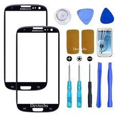 Front Outer Screen Glass Lens Replacement for Samsung Galaxy S3 Black/ Tools Kit