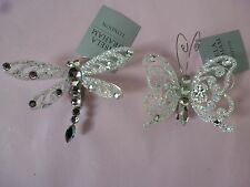 Gisela Graham Silver Glitter Diamante Insect on a Clip Dragon/butterfly Xmas Dec