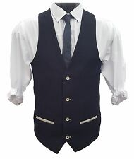 MENS MARC DARCY FORMAL DRESSY WAISTCOAT - WILL DARK BLUE