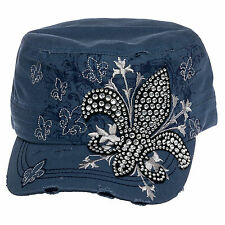 Crystal Case Cotton Rhinestone Fleur de Lis Military Cadet Cap Hat