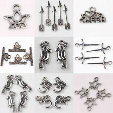 New 15/30X Tibet Silver Parrot Sword Letter Pendants Charms Jewelry Findings DIY