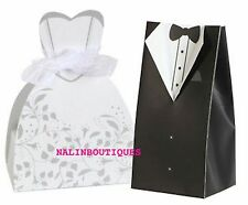 Set of 50 Bride dress and 50 of Groom Tuxedo Party Wedding Favor Candy Boxes
