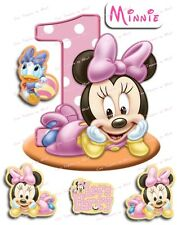 EDIBLE PRECUT ICING BABY'S 1ST BIRTHDAY DISNEY MINNIE MICKEY MOUSE CAKE TOPPERS