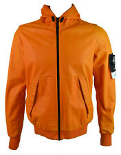 Stone Island Men's Lightweight Hooded Leather Felpa Jacket Orange (SIJK013)