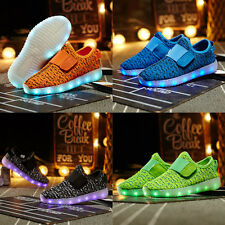 Boys Girls LED Light up Luminous Sneakers Kids Casual Slip On Shoes USB Charge