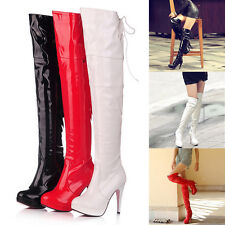 Popular Sexy Ladies Womens Over Knee Thigh High Heel Stretch Leather Boot Shoes