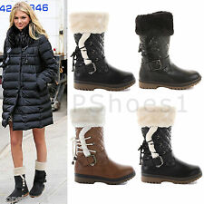 WOMENS LADIES WARM FUR LINED WINTER QUILTED WATERPROOF SNOW BOOTS SHOES SIZE