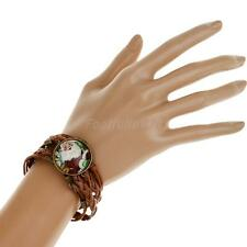 Retro Style Christmas Santa Claus Braid Leather Butterfly Bracelet Bangle