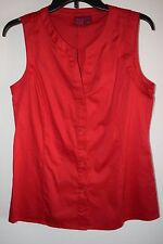 NWOT 212 Collection Womens Red Sleeveless Down Blouse Shirt Cotton Stretch L NEW