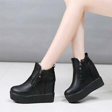 Hot Womens Zip High Heel Platform Wedges Ankle Boots Punk Goth Creepers Shoes YT