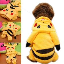 Pet Clothes Dog Pikachu Yellow Sweater Hoodie Cat Coat Puppy Apparel Costume Hot