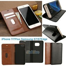 Premium PU Leather Wallet Card Holder Flip Case Stand Cover for iPhone & Samsung