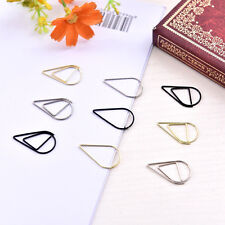 10pcs Water Drop Shape Metal Memo Clip Paper Clips BookmarkOffice Supplies