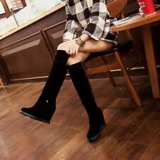 Chic Wedge Heel Womens Warm Winter Shoes Faux Suede Knee High Riding Boots New