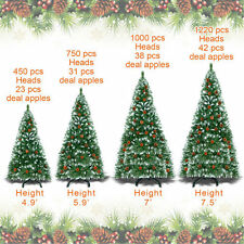 Artificial 5/6/7.5ft Christmas Tree w Snow Tips & Base Pinecones Decorated Green