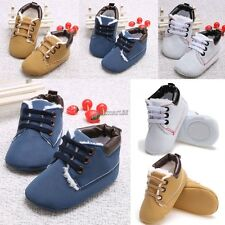 New Toddler First Walkers Lace-up Baby Prewalker Sole Sneakers Crib Shoes OK