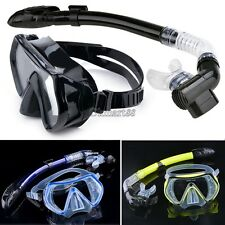 Scuba Diving Snorkeling Mask Dry Snorkel Water Sports Gear Combo Set New OK