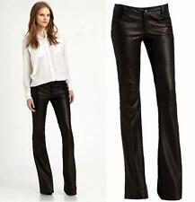 New Europe Slim Fit Women's Long Black Leather Trousers Dress Bell-bottoms Pants