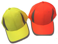 Hi Viz Visibility Reflective Baseball Cap Yellow or Orange Available